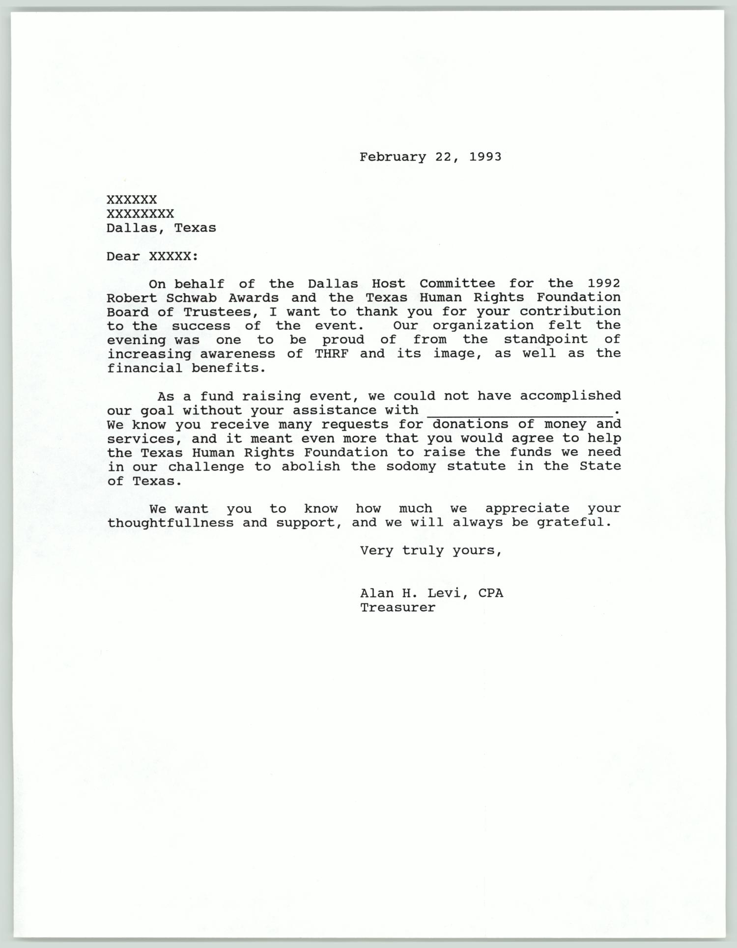 Letter template for donations to the Texas Human Rights