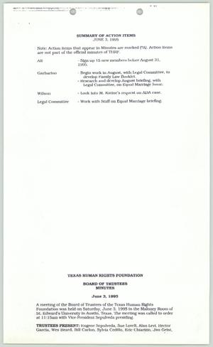 Primary view of object titled '[Summary of action items June 3, 1995]'.