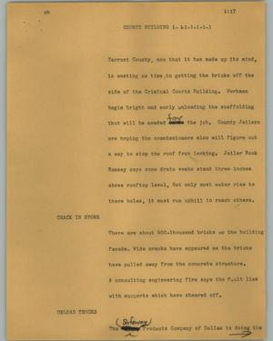 Primary view of object titled '[News Script: County building]'.