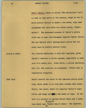 Primary view of object titled '[News Script: Robert Taylors]'.