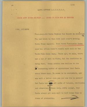 Primary view of object titled '[News Script: Santa letters]'.