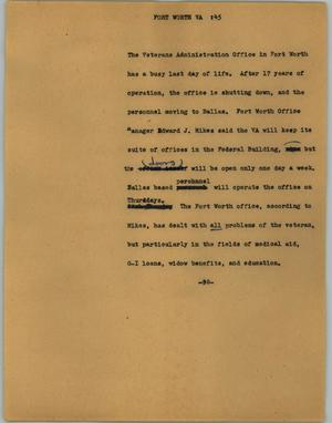 Primary view of object titled '[News Script: Fort Worth VA]'.
