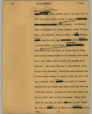 Primary view of object titled '[News Script: Palace robbery]'.