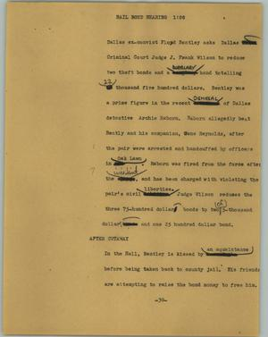 Primary view of object titled '[News Script: Bail bond hearing]'.