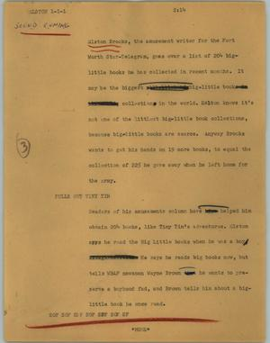 Primary view of object titled '[News Script: Elston]'.