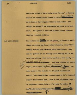Primary view of object titled '[News Script: Children]'.