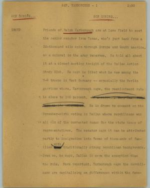 Primary view of object titled '[News Script: Sen. Yarborough]'.