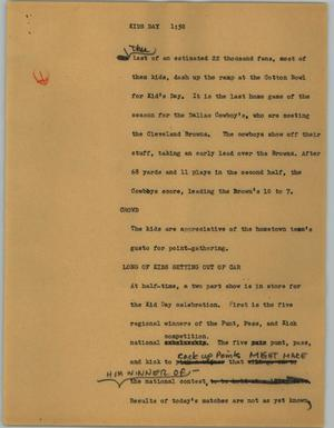 Primary view of object titled '[News Script: Kids day]'.