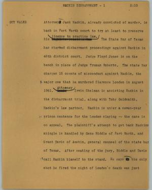 Primary view of object titled '[News Script: Mackin disbarment]'.