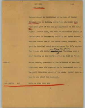Primary view of object titled '[News Script: Doc Dunn]'.