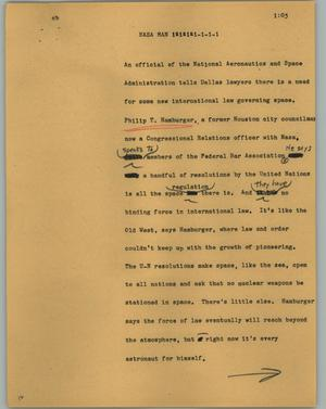 Primary view of object titled '[News Script: NASA man]'.