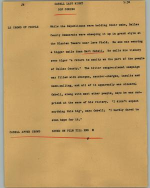 Primary view of object titled '[News Script: Cabell last night]'.
