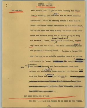 Primary view of object titled '[News Script: Curtis]'.