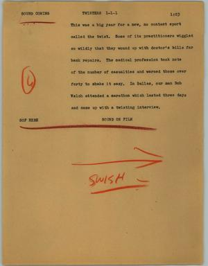 Primary view of object titled '[News Script: Twisters]'.