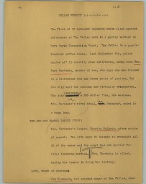 Primary view of object titled '[News Script: Cellar verdict]'.