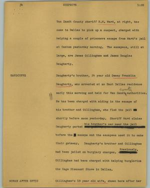 Primary view of object titled '[News Script: Suspects]'.