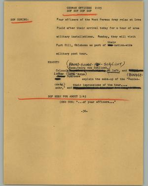 Primary view of object titled '[News Script: German officers]'.