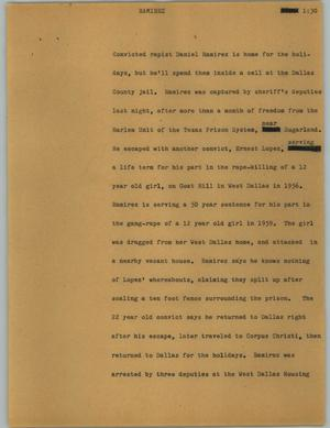 Primary view of object titled '[News Script: Ramirez]'.