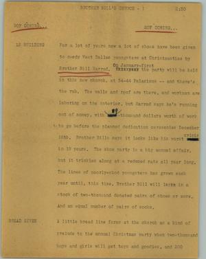 Primary view of object titled '[News Script: Brother Bill's church]'.