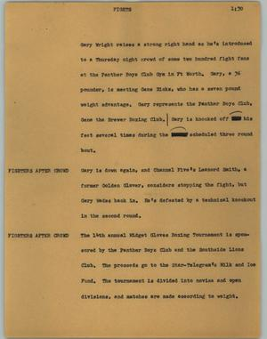 Primary view of object titled '[News Script: Fights]'.