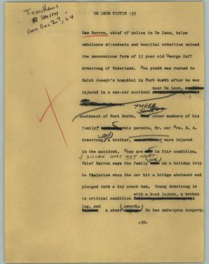 Primary view of object titled '[News Script: De Leon Victim]'.
