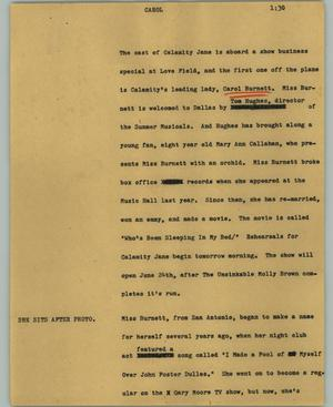 Primary view of object titled '[News Script: Carol]'.