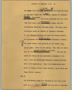 Primary view of object titled '[News Script: Chamber of Commerce]'.