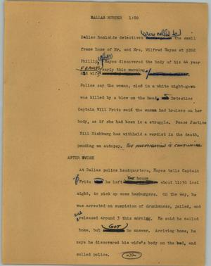 Primary view of object titled '[News Script: Dallas murder]'.