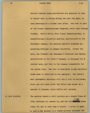Primary view of object titled '[News Script: Screen test]'.