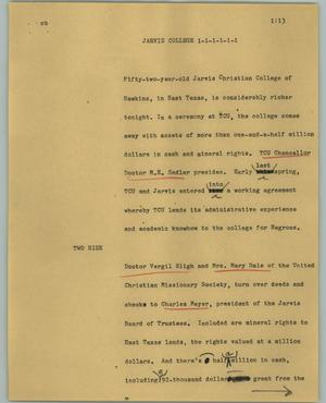 Primary view of object titled '[News Script: Jarvis College]'.
