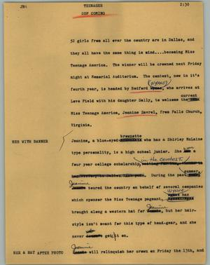 Primary view of object titled '[News Script: Teenager]'.