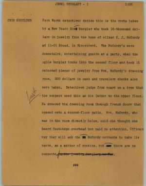 Primary view of object titled '[News Script: Jewel burglary]'.