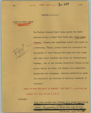 Primary view of object titled '[News Script: Simmons]'.
