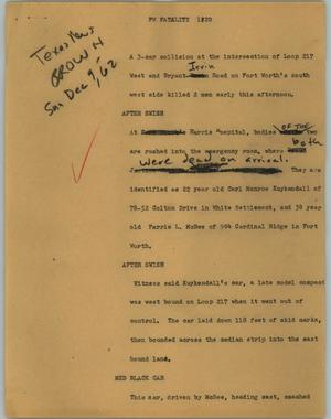 Primary view of object titled '[News Script: FW Fatality]'.