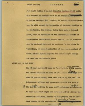 Primary view of object titled '[News Script: Sowell resigns]'.