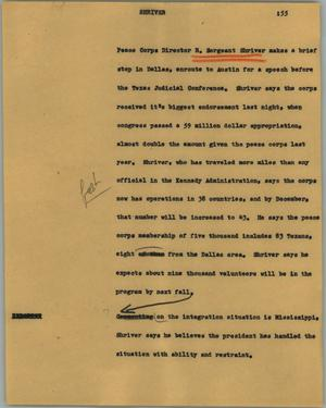 Primary view of object titled '[News Script: Shriver]'.