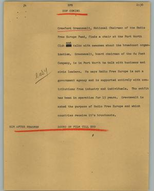 Primary view of object titled '[News Script: RFE]'.
