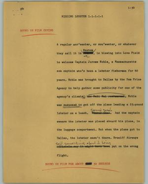 Primary view of object titled '[News Script: Missing lobster]'.