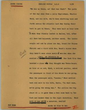 Primary view of object titled '[News Script: English couple]'.