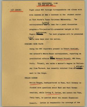 Primary view of object titled '[News Script: NBC newshounds]'.