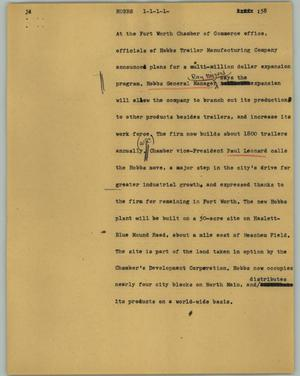 Primary view of object titled '[News Script: Hobbs]'.