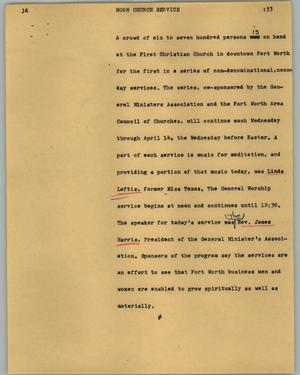 Primary view of object titled '[News Script: Noon church service]'.