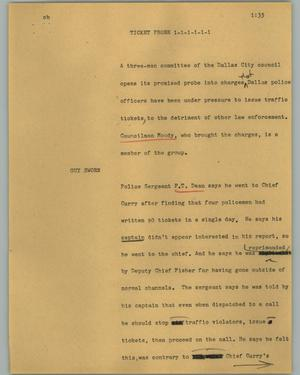 Primary view of object titled '[News Script: Ticket probe]'.