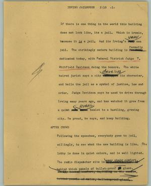 Primary view of object titled '[News Script: Irving jailhouse]'.