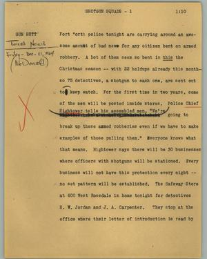 Primary view of object titled '[News Script: Shotgun squads]'.