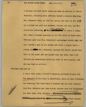 Primary view of object titled '[News Script: Man shoots wrong woman]'.