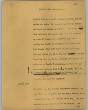 Primary view of object titled '[News Script: Lucille Ball]'.