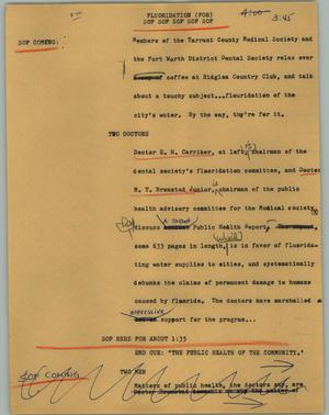 Primary view of object titled '[News Script: Fluoridation]'.