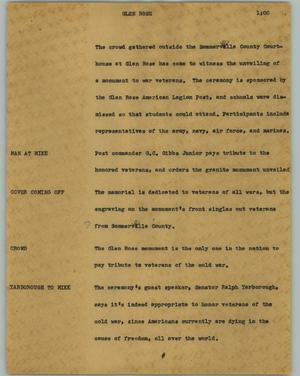Primary view of object titled '[News Script: Glen Rose]'.