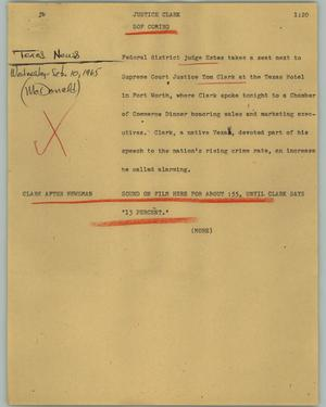 Primary view of object titled '[News Script: Justice Clark]'.